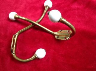 Victorian Brass Porcelain Double Hat Coat Hooks photo