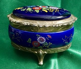 Vintage Jewelry Casket Cobalt Enamel Gilt Ormolu Music Trinket Box Sankyo Japan photo