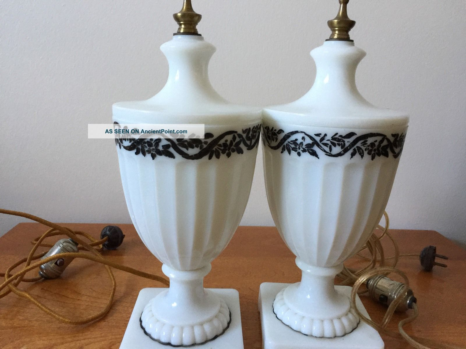 Vintage Art Deco Pair White Ribbed Glass Lamps Cords Lamps photo