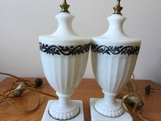 Vintage Art Deco Pair White Ribbed Glass Lamps Cords photo