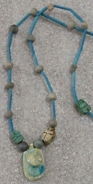Egyptian Pharaoh ' S Necklace,  Mummy Beads Terracotta 32