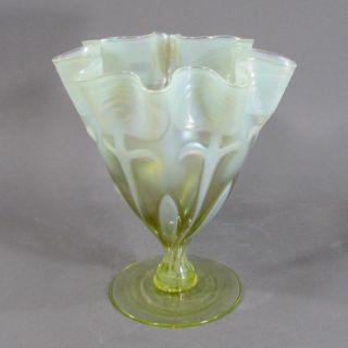 John Walsh Walsh Floriform Vaseline Glass Vase With Opaline Art Nouveau Pattern photo
