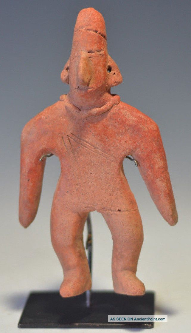Pre Columbian Colima Flat Male Gingerbread Pottery Archaic Figure Headress 5.  7