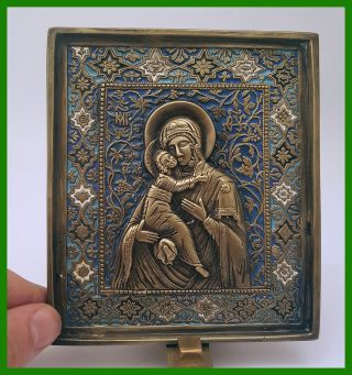Large Russia Orthodox Bronze Icon The Virgin Of Vladimir.  Enameled photo