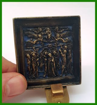 Russia Orthodox Bronze Icon The Ascension.  Enameled. photo
