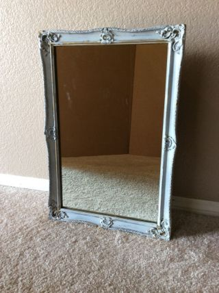 Vintage Antique Wood Frame Surface Mount Metal Medicine Cabinet Mirror photo