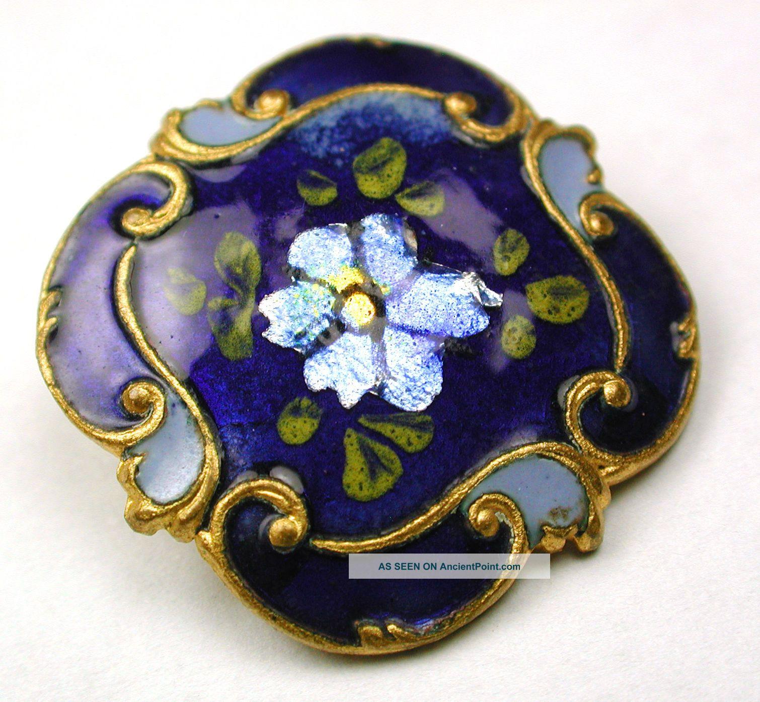 Antique Square Cobalt Enamel Button Flowers Over Foil W Fancy Brass Border 15/16 Buttons photo