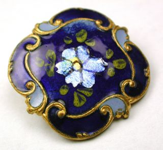 Antique Square Cobalt Enamel Button Flowers Over Foil W Fancy Brass Border 15/16 photo