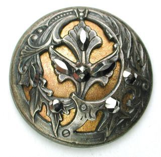 Antique Brass Dome Button W/ Detailed Leaves & Cut Steel Accents - 1 & 1/16