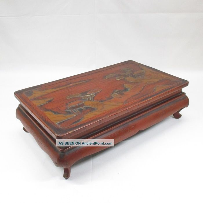 D838: Chinese Old Lacquer Ware Decorative Stand Of Appropriate Work And Style. Tables photo