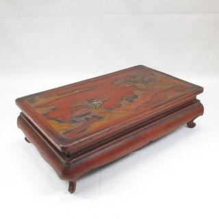 D838: Chinese Old Lacquer Ware Decorative Stand Of Appropriate Work And Style. photo