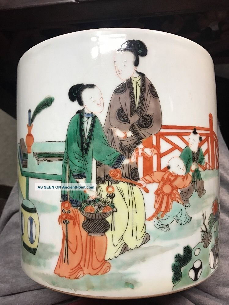 Antique Chinese Very Old Kangxi Big Family Rose Porcelain Brushpot Asian China Vases photo