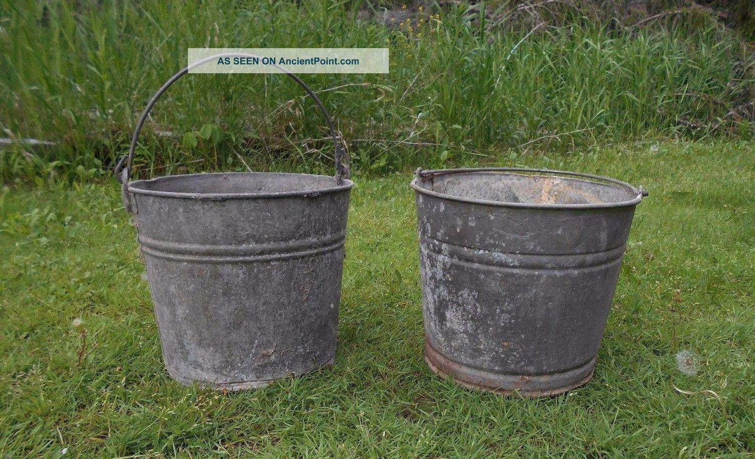 2 Vintage Primitive Galvanized Metal Milk Water Bucket Bail Wire Handle 10