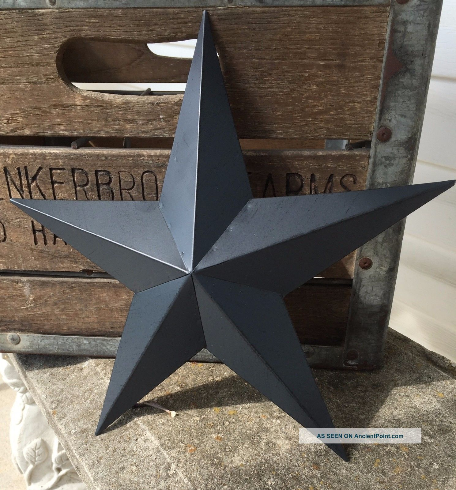 Primitive Metal Barn Star Blue 12 Inch Country Rustic Farm Decor Primitives photo