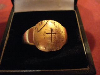 Byzantine / Medieval Bronze Ring With ' Cross ' - - Detector Find photo