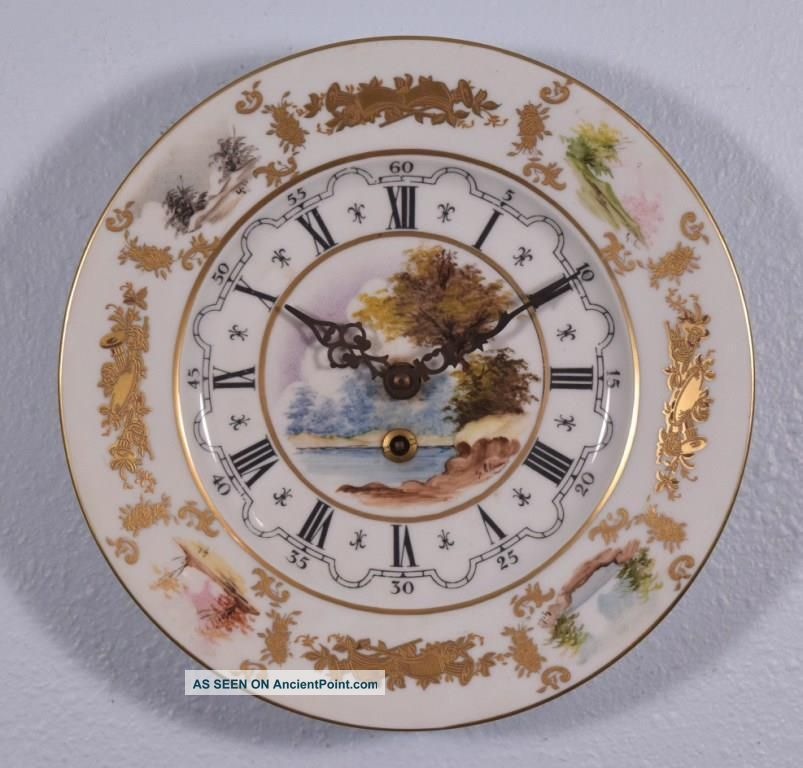 Vintage Hand Painted Sevres Porcelain Clock With German Clockworks Clocks photo