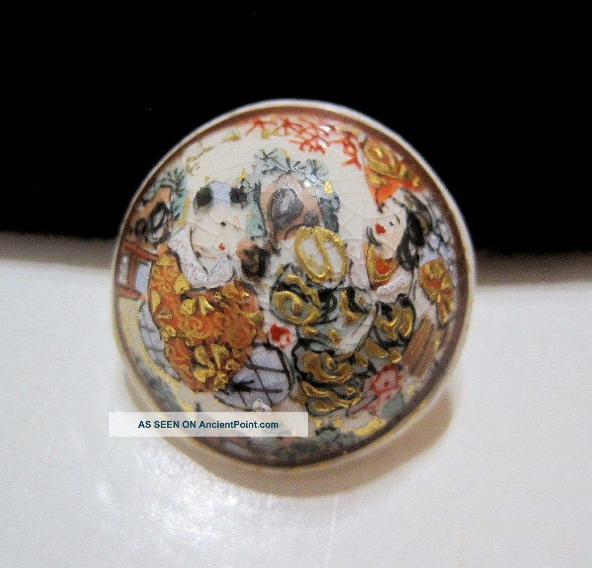 Stunning Meiji Period Antique Japanese Hand - Decorated Satsuma Button Buttons photo