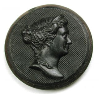 Antique Horn Button Detailed Lovely Woman In Profile - 1 & 1/8