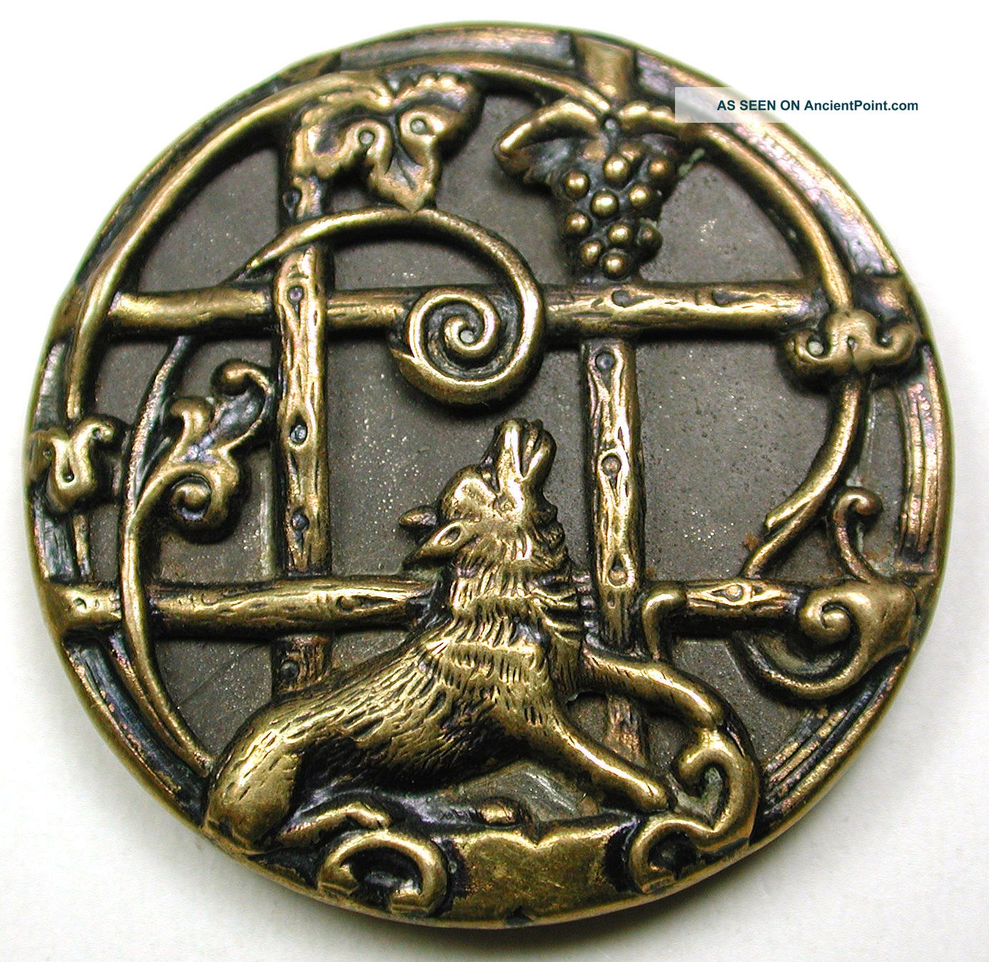 Lg Sz Antique Brass Fable Button Detailed Fox & Grapevine Scene 1 & 5/16