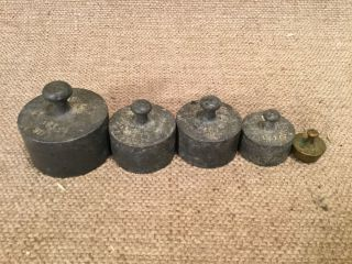 Antique Vintage Lead? Balance Scale Counter Weights 200g 100g 50g 10g photo