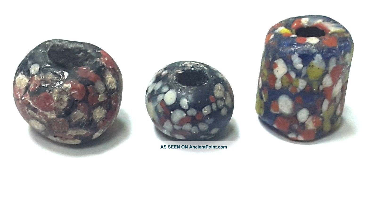 Ancient Beads.  3 Ancient Mosaic Roman Glass Beads. Near Eastern photo