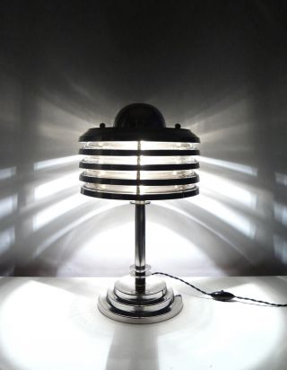 Art Deco Machine Age Modernist Lamp,  Base & Shade All Chrome (no Glass) - 47 Cm photo