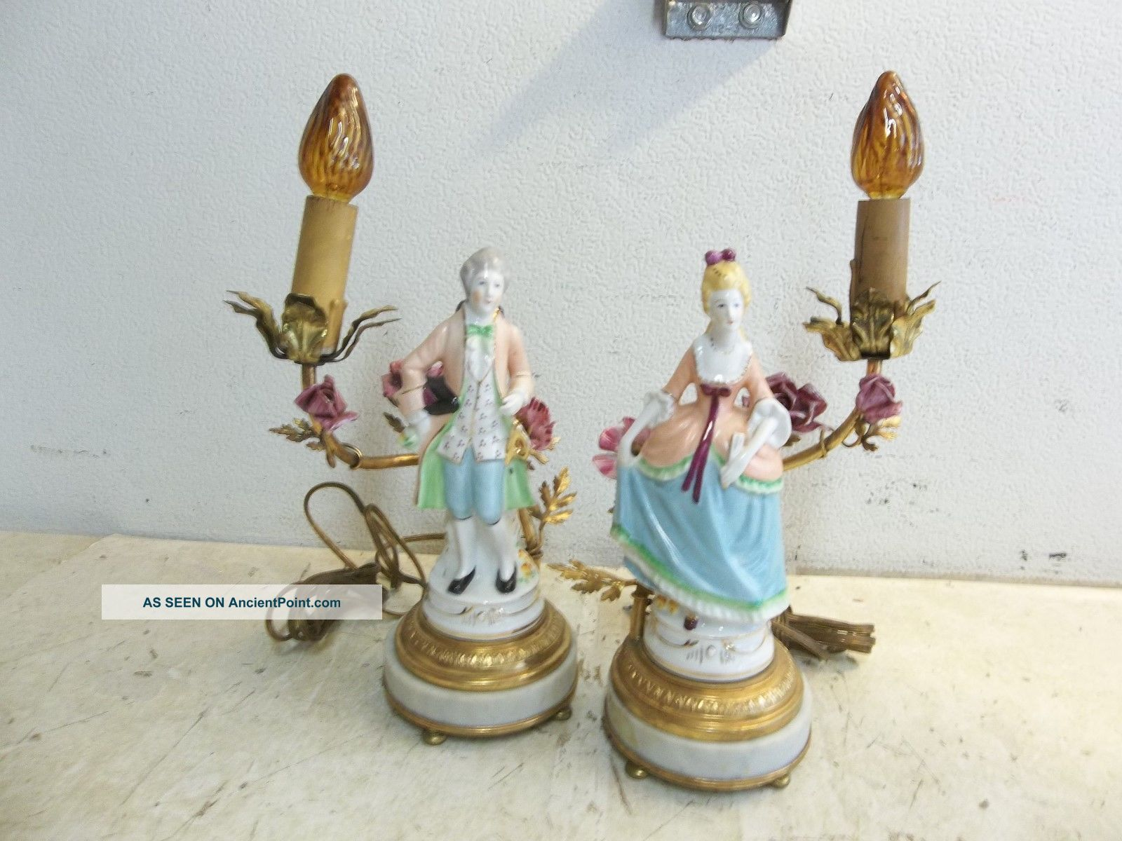 Vintage Painted Porcelain Victorian Man/woman Table Lamps - Marble Base - Markings Other Antique Ceramics photo