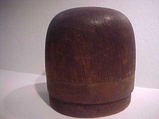 Vintage Oblong Wooden Milliners Hat Mold Block Form Measures 22 Unmarked H 7 1/2 photo