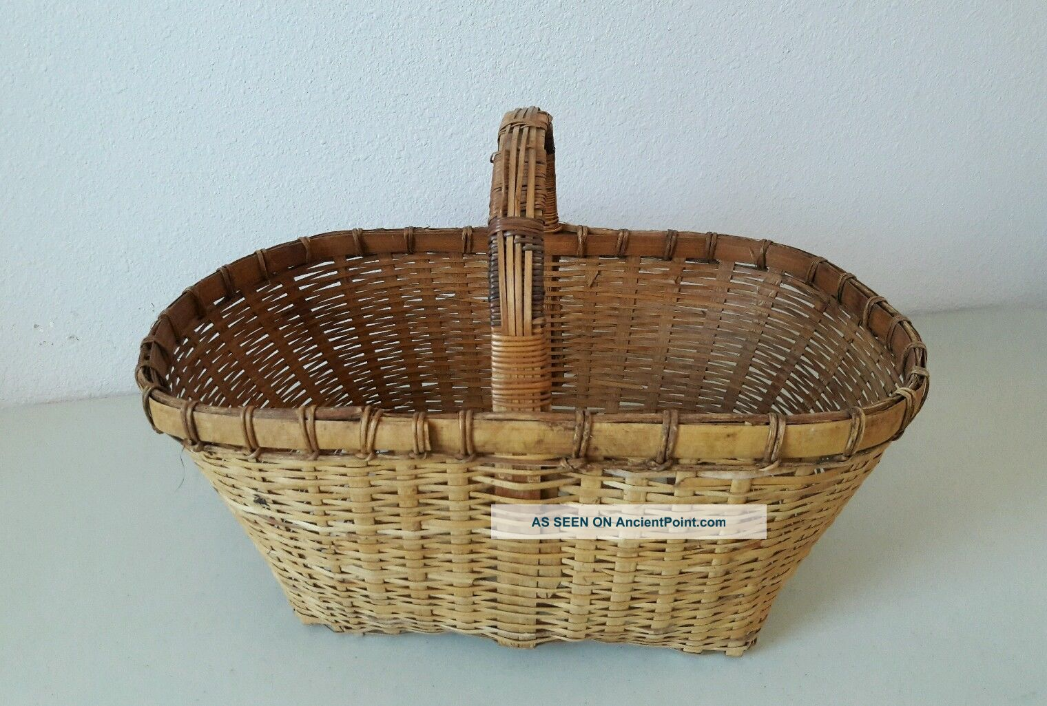 Early Handmade Antique Primitive Large Splint Woven Basket Vintage Market Primitives photo