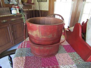 Vintage Xl Vermont Bucket With Bentwood Handle - Metal Bands photo