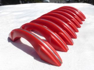9 Vintage Drawer Door Pulls Handles Red Chrome Line Stripe Plastic Art Deco Wow photo