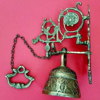 Antique Ornate Solid Brass Hanging Pull Chain Dinner Call Door Bell Vintage Wall photo