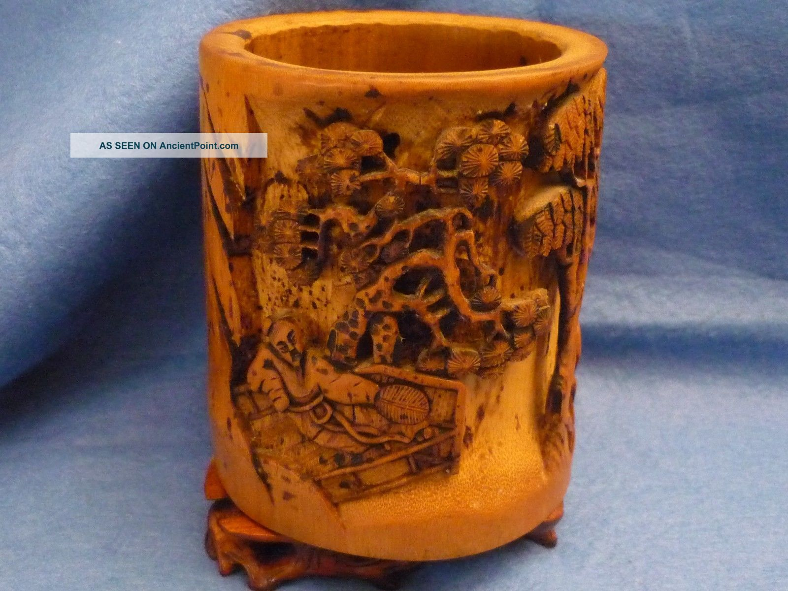 Chinese Brush Pot Carved Bamboo - Pot à Pinceaux - Bambus Geschnitzt Brush Pots photo