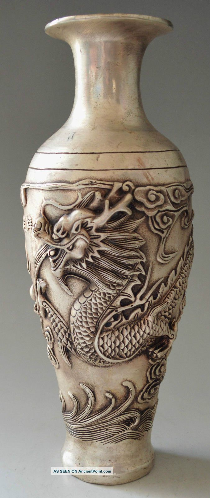 Collectible Decorated Silver Plate Copper Carved Big Dragon Vase Vases photo