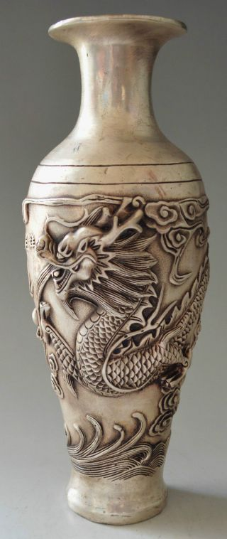 Collectible Decorated Silver Plate Copper Carved Big Dragon Vase photo