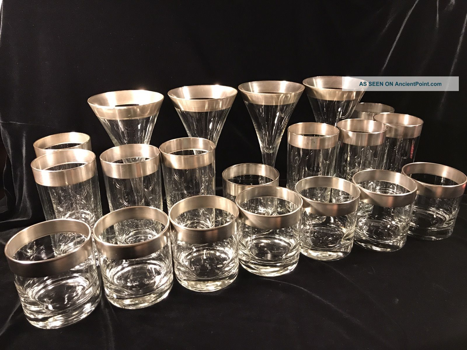 Dorothy Thorpe Mad Men 1960 ' S Silver Band Rim Cocktail Wine Martini Glasses Mid-Century Modernism photo