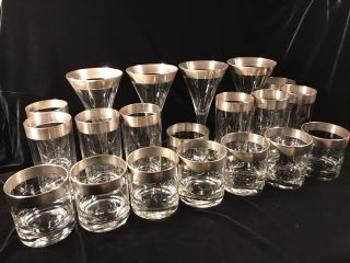 Dorothy Thorpe Mad Men 1960 ' S Silver Band Rim Cocktail Wine Martini Glasses photo