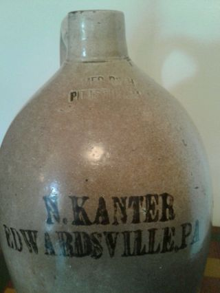 Antique Stoneware James Ryan Jug Crock,  Pittston,  Pennsylvania,  Edwardsville,  Pa photo