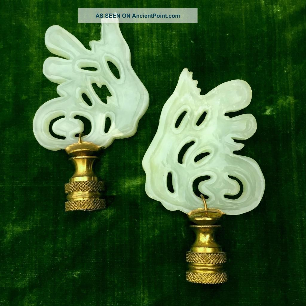Vintage Chinese Carved Pale Green Jade & Brass Lamp Finials - Calligraphy Motif Other Chinese Antiques photo