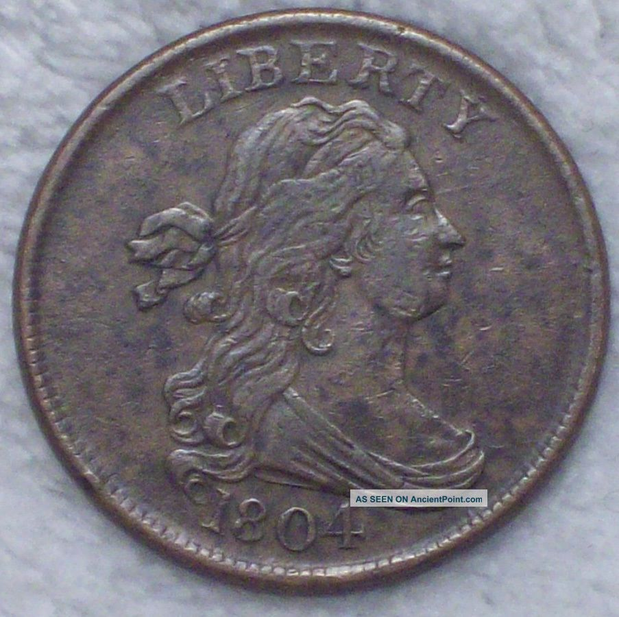 1804 Draped Bust Half Cent Rare Xf,  /au Brown Tone C - 10 Authentic Us Coin The Americas photo