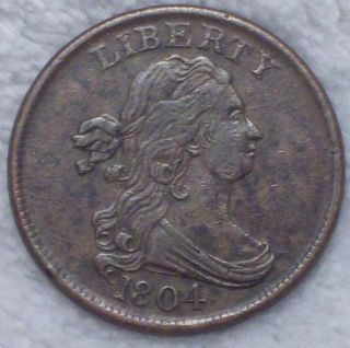 1804 Draped Bust Half Cent Rare Xf,  /au Brown Tone C - 10 Authentic Us Coin photo