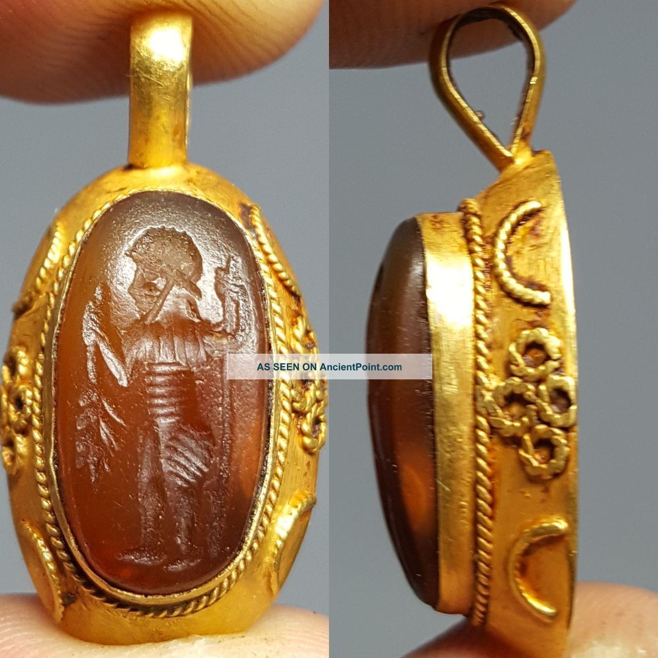 Stunning Solid Gold Carnilion Intaglio Pendant Roman photo
