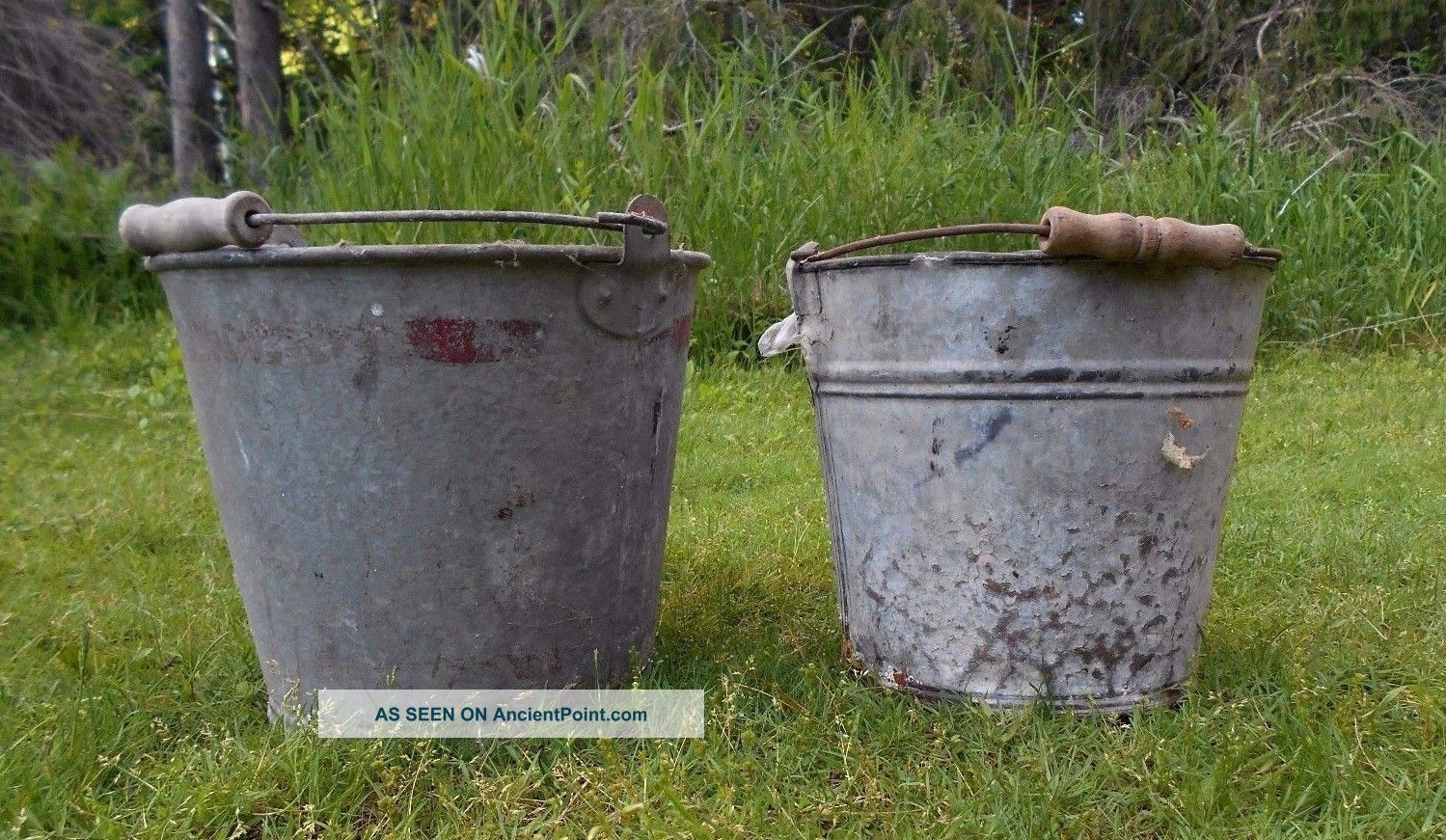 2 Vintage Primitive Galvanized Metal Pail Bucket Antique,  Planter Wood Handle Primitives photo