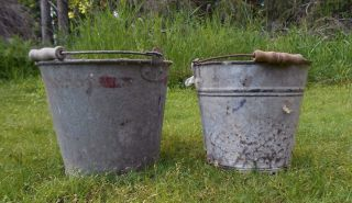 2 Vintage Primitive Galvanized Metal Pail Bucket Antique,  Planter Wood Handle photo