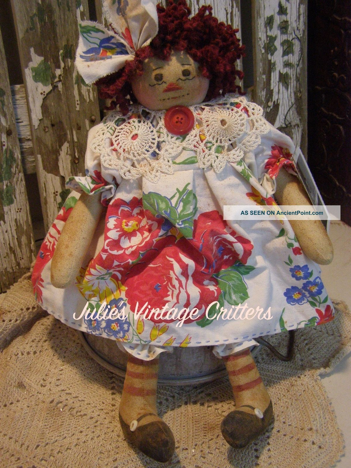 Primitive Raggedy Ann Doll,  Old Tablecloth,  Doily,  Old Photo Raggedy Annie Doll Primitives photo
