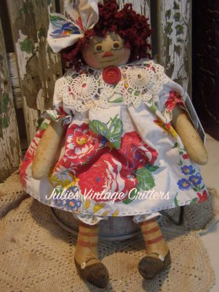 Primitive Raggedy Ann Doll,  Old Tablecloth,  Doily,  Old Photo Raggedy Annie Doll photo