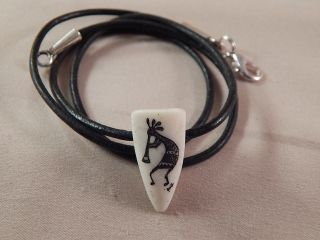 Scrimshaw Bovine Bone Pendant Teardrop Shaped - Kokopelli photo