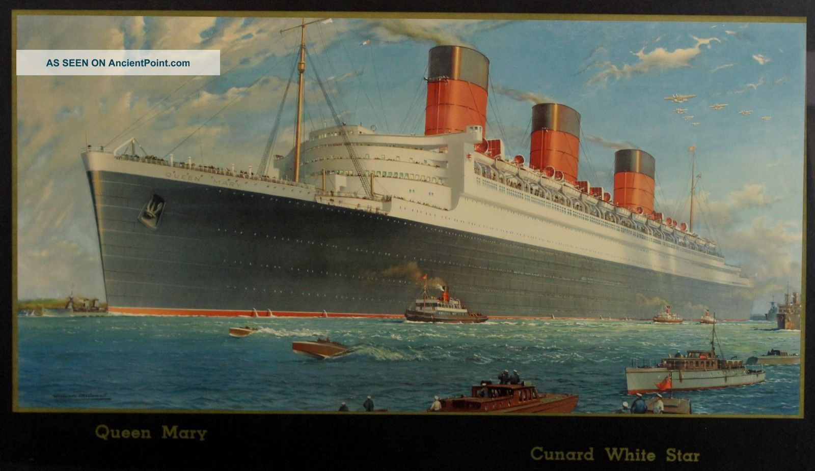 Antique Authentic 1930s,  Queen Mary,  White Star Line,  Ocean Liner Travel Poster Plaques & Signs photo