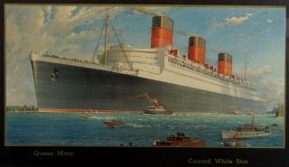 Antique Authentic 1930s,  Queen Mary,  White Star Line,  Ocean Liner Travel Poster photo