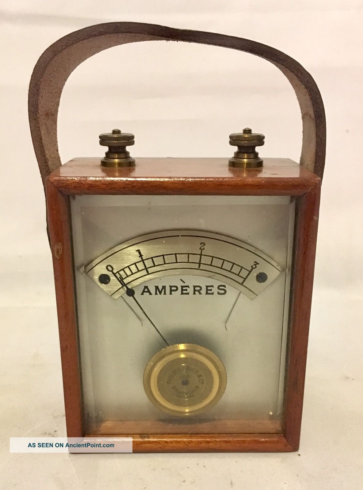 Antique Vintage Ammeter Amperes Meter Machine By Philip Harris Birmingham Other Antique Science Equip photo